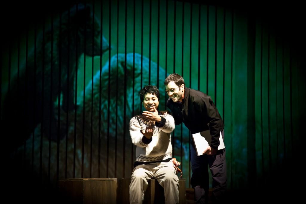 Taka Yamamoto and Ryan Conarro in the world premiere of The Blue Bear at Perseverance Theatre. Photo Creidt Akiko Nishijima Rotch
