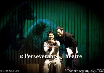 Taka Yamamoto and Ryan Conarro in the world premiere of The Blue Bear at Perseverance Theatre. Photo Creidt Akiko Nishijima Rotch