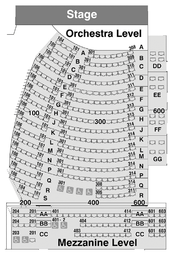 Perseverance Theatre Seat Map